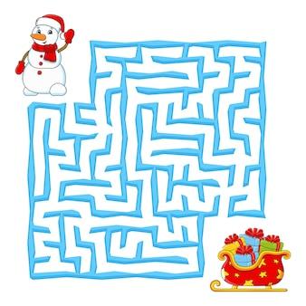Quadratisches labyrinth weihnachtsspiel für kinder winterpuzzle für kinder labyrinth rätsel