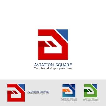 Quadratisches logo der luftfahrt