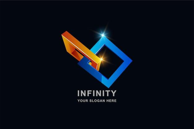 Quadratisches logo-design für unendlichkeit oder 3d-rahmen