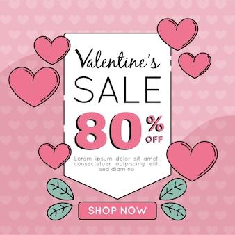 Quadratisches valentinstag-verkaufsbanner