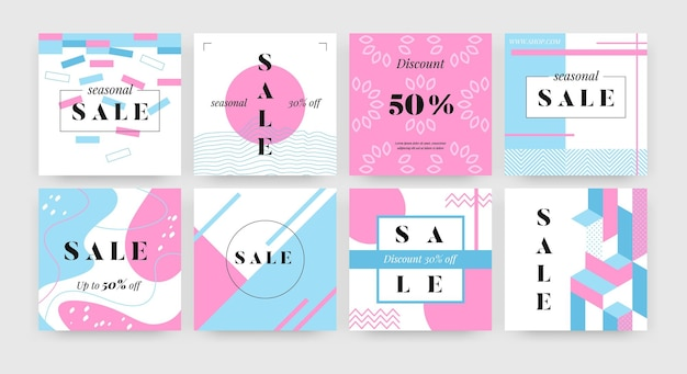 Quadratisches verkaufsbanner. promotion-layout-design-vorlage mit abstrakten geometrieformen, social-media-werbeflyer. vektorset-newsletter mit stilillustrations-promo-beschilderung
