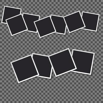 Quadratrahmenschablone mit schatten lokalisierte vier satzsammlung