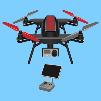 Quadrocopter mit videokamera unten und dunklem bildschirm lokalisiert auf blauem hintergrund. abbildung eines dunkelroten hubschraubers mit mehreren rotoren, der von vier rotoren angehoben und angetrieben wird.