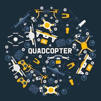 Quadrocopter runden muster luftdrohnen und fernbedienung drohnen drahtlose flugantenne roboter fly innovation unbemannte kamera-gadget.