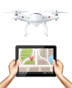Quadrocopter und hände, die tablette halten