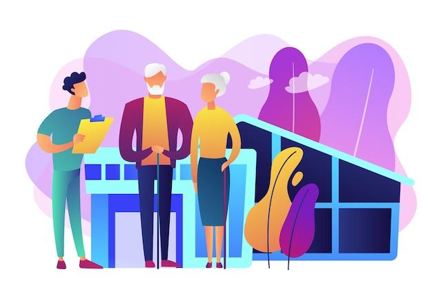 Qualifizierte krankenschwestern und ältere menschen, die rund um die uhr betreut werden. pflegeheim, pflegeheim, physiotherapie-servicekonzept. helle lebendige violette isolierte illustration