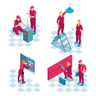 Qualifiziertes elektriker-arbeitskonzept 4 isometrische zusammensetzungen mit roten uniformen des reparaturteams für die installation von baukabeln