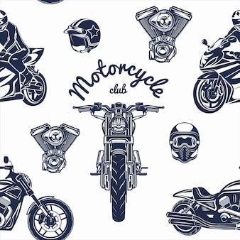 Qualität nahtlose motorrad-set muster-vektor-illustration