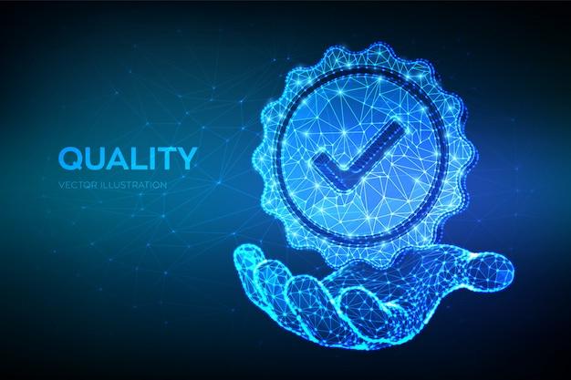 Qualität. niedrige polygonale qualitätsikonenüberprüfung in der hand.