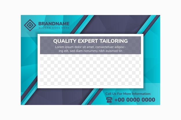 Qualitätsexperte schneiderei flyer design-vorlage verwendet horizontalen layout dunkelblauen hintergrund mit farbverlauf
