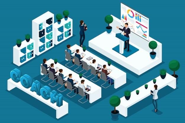 Qualitätsisometrie, charaktere, geschäftsleute auf der konferenz, coaching. exzellentes konzept für werbung und preise