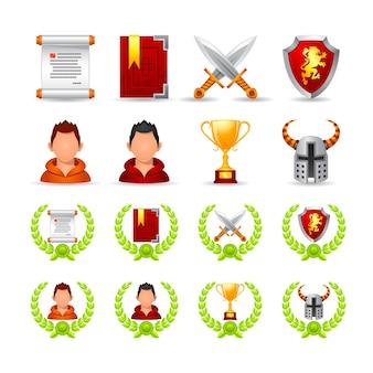 Qualitätsvektorsatz von icons zum thema spiel, format eps 10