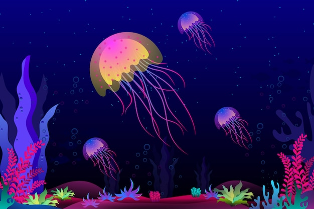 Qualle mit schöner koralle unter der seeillustration