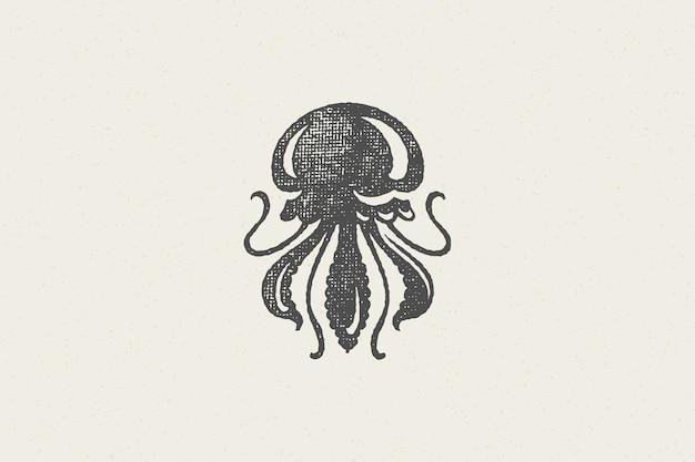 Quallensilhouette für den handgezeichneten stempeleffekt des lebensmittelmarktes und des meeresfrüchterestaurants