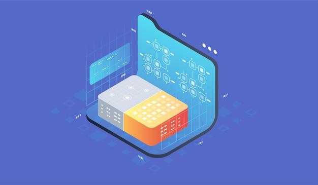Quantencomputer, große datenverarbeitung. isometrisches quantencomputing oder supercomputing. softwareentwicklung und programmierung.