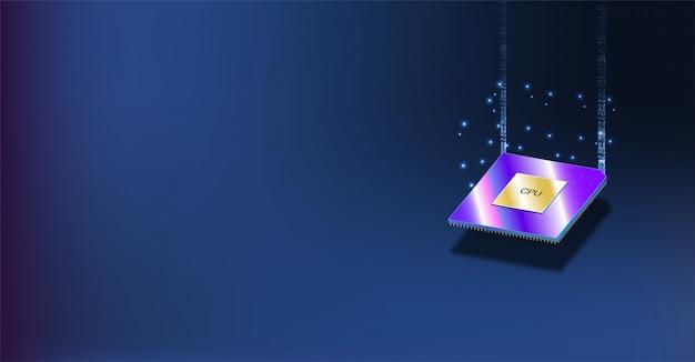 Quantencomputer, verarbeitung großer datenmengen, datenbankkonzept. cpu isometrisch. cpu-konzept der zentralen computerprozessoren. digitaler chip futuristischer mikrochip-prozessor mit lichtern auf dem blauen hintergrund.
