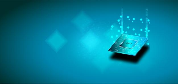 Quantencomputer, verarbeitung großer datenmengen, datenbankkonzept. cpu-isometrisches banner.