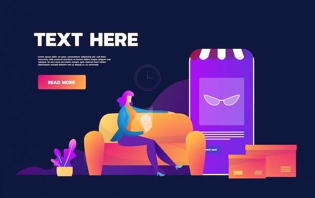 Quarantäne der coronavirus-epidemie. online einkaufen. zu hause bleiben. angst mädchen einkaufen auf dem handy zu hause. quarantäne. flache illustration.