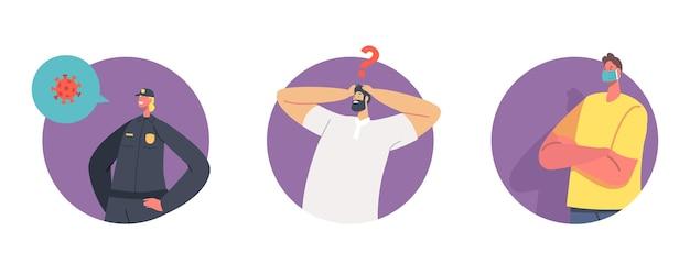 Quarantäne-strafe-konzept festlegen. polizeifrauencharakter überprüfen menschen auf der straße während der selbstisolation der covid19-pandemie. quarantäne-personen in medizinischer maske und ohne. cartoon-vektor-illustration