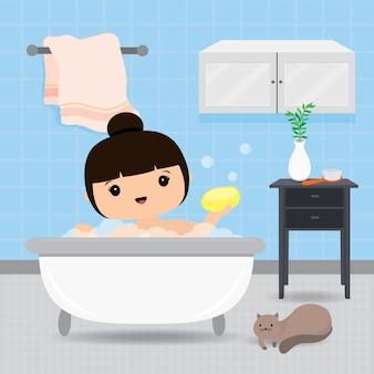 Quarantäne, zu hause bleiben konzept. frau arbeitet von zu hause aus, duscht in der badewanne, routinetätigkeit am morgen. charakter cartoon illustration