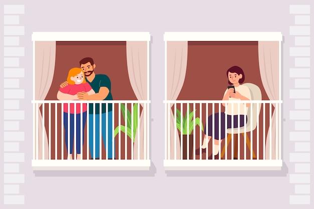 Quarantänekonzept mit menschen auf balkonen