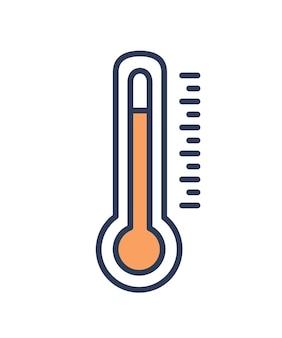 Quecksilber-im-glas- oder quecksilberthermometer lokalisiert auf weißem hintergrund. messwerkzeug, meteorologische geräte zur temperaturmessung. bunte vektorillustration in der modernen linie kunstart.