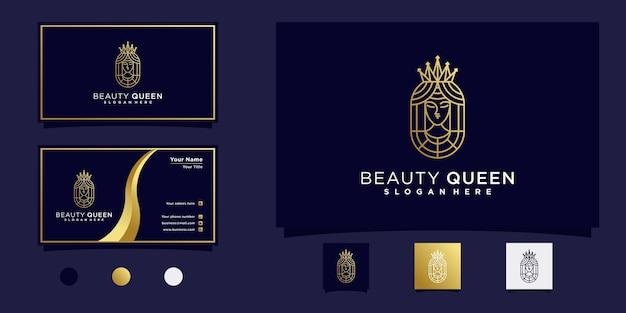 Queen beauty logo mit goldenem farbverlauf im modernen linienstil und visitenkartendesign premium-vektor