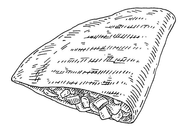 Quesadilla - mexikanisches traditionelles essen. weinlesevektor, der einfarbige schwarze illustration schraffiert