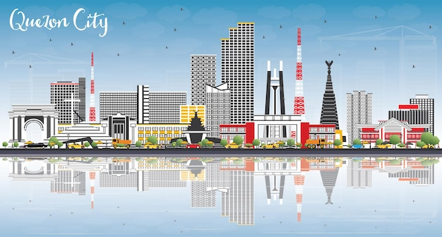 Quezon city philippinen skyline mit grauen gebäuden, blauem himmel und reflexionen. vektor-illustration. geschäftsreise- und tourismusillustration mit moderner architektur.