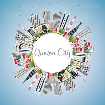 Quezon city philippinen skyline mit grauen gebäuden, blauem himmel und textfreiraum vektor-illustration