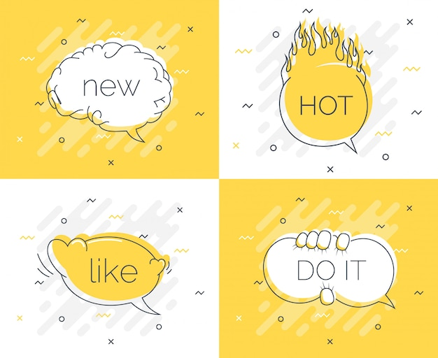 Quick tips abzeichen mit sprechblasen
