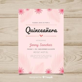 Quinceanera blumeneinladungsschablone