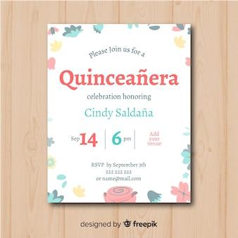 Quinceanera hand gezeichnete blumen einladungsschablone
