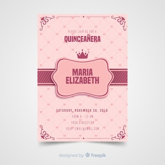 Quinceanera herzen einladungsvorlage