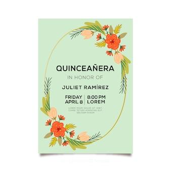 Quinceañera partyeinladung mit blumenkranz