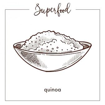Quinoamüsli in der einfarbigen superfoodskizze der tiefen schüssel