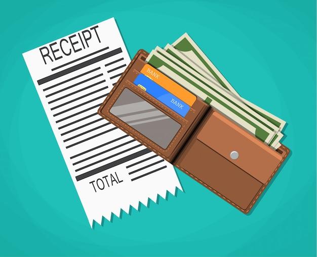 Quittung, geld bargeld mit dollar-banknoten