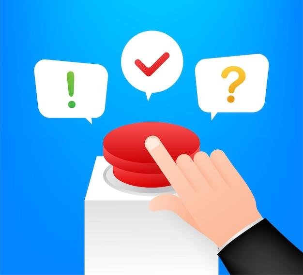 Quiz-button mit sprechblasensymbolen, konzept der fragebogenshow singen, quiz-button. vektor-illustration