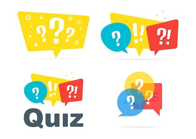 Quiz-logo mit sprechblasen auf weißem hintergrund. konzept zeigen fragebogen singen, quiz-button, wettbewerbsfragen, prüfung, interview modernes logo-design