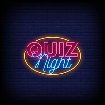 Quiz nacht logo neon zeichen stil text