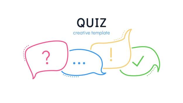 Quiz-sprechblasen für eine kreative trivia-vektor-illustration von fünf sprechblasen