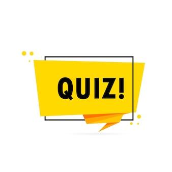 Quiz. sprechblasenbanner im origami-stil. aufkleber-design-vorlage mit quiz-text. vektor-eps 10. getrennt auf weißem hintergrund.