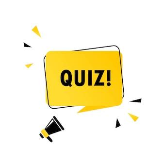 Quiz-symbol. megaphon mit quiz-sprechblase-banner. lautsprecher. kann für geschäft, marketing und werbung verwendet werden. quiz-werbetext. vektor-eps 10. isoliert auf weißem hintergrund