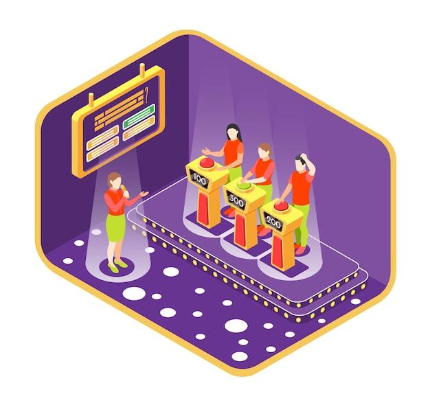 Quiz-tv-show-konzept mit isometrischer illustration der wettbewerbselemente