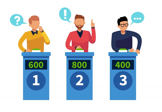 Quiz zeigen leute. fernsehwettbewerb beantwortet personen mit podium. cartoon-rätsel, quizspiel-vektorkonzept