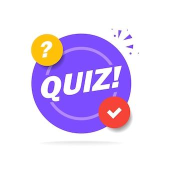 Quizlogo mit sprechblasensymbolen, konzept der fragebogenshow singen, quiztaste, fragewettbewerb, prüfung, modernes emblem des interviews