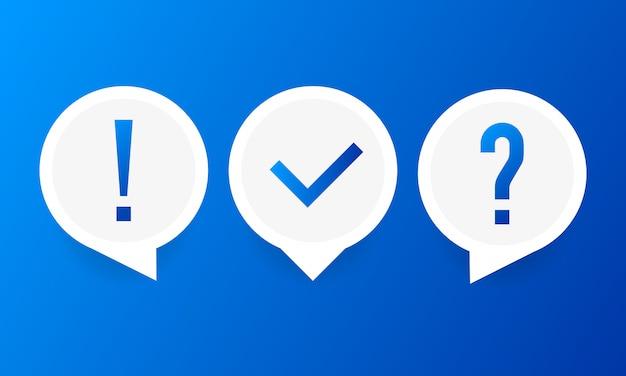 Quizvektorlogo-isolat auf weiß, fragebogensymbol, abstimmungszeichen.