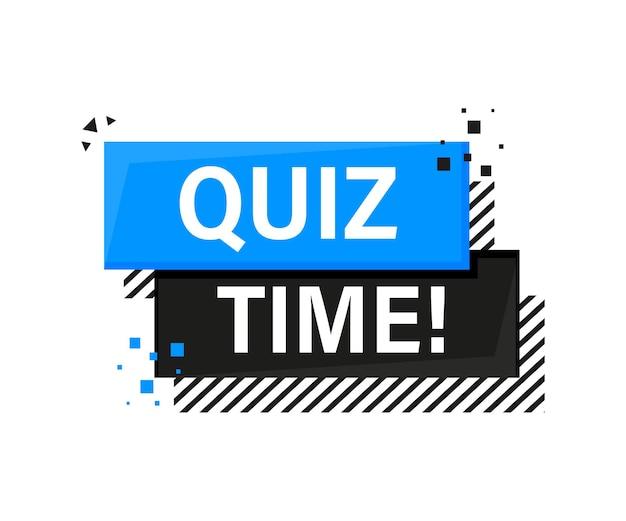 Quizzeit blaues banner im 3d-stil auf weiß
