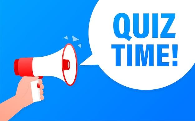 Quizzeit megaphon blaues banner im flachen stil. illustration.