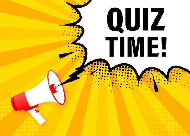 Quizzeit megaphon gelbes banner im flachen stil. illustration.
